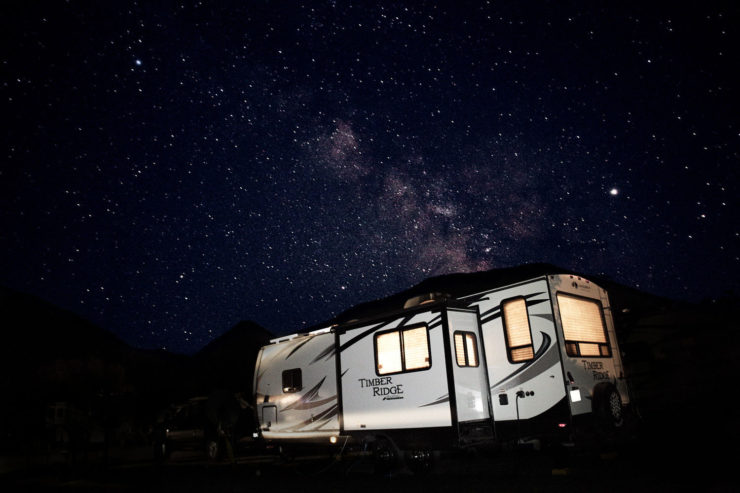 Photo of our trailer outside West Glacier at night