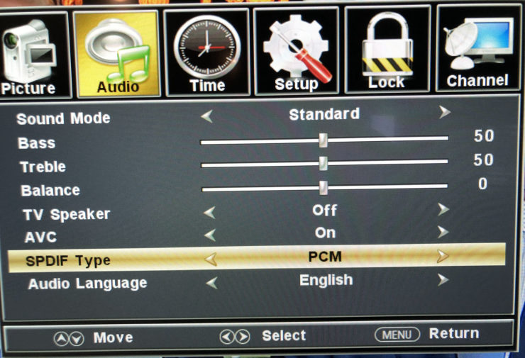 Screenshot of the SPDIF Type setting