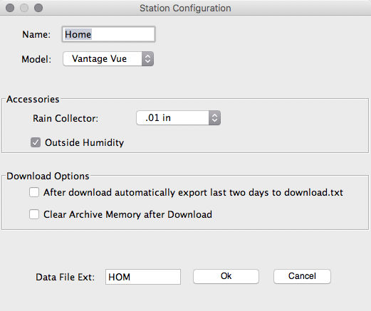 Weather Link Station Configuration (step 1) screenshot