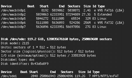 Screenshot of the command output