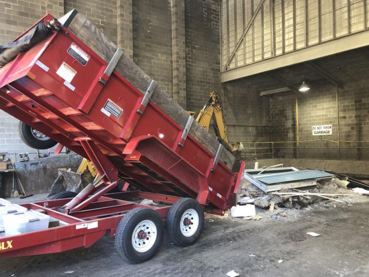 Dump trailer in action