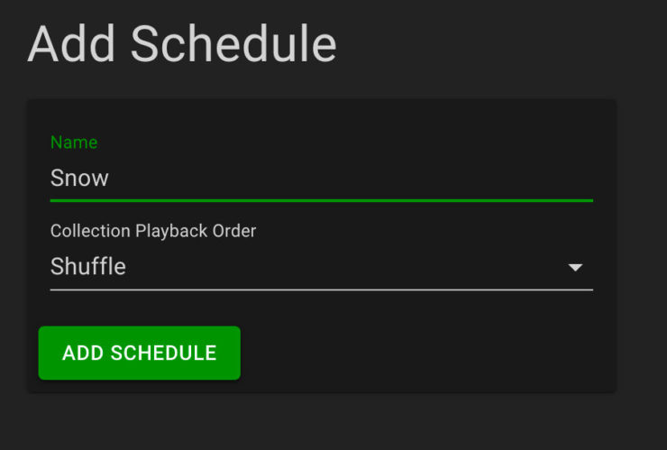 Screenshot of creating a schedule
