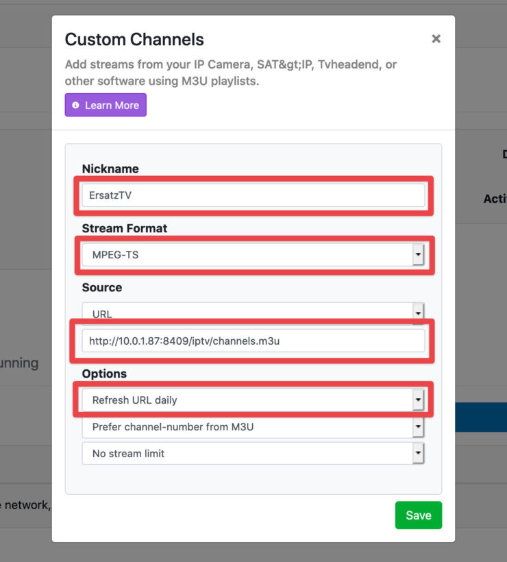 Screenshot of adding a Channels DVR Custom Channels source